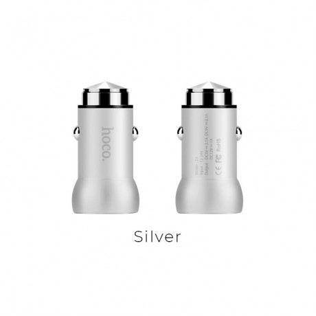 HOCO Z4 SINGLE PORT USB CAR CHARGER, QUICK CHARGE 2.0, ΑΣΗΜΙ