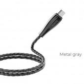 HOCO U56 METAL ARMOR ΜΕΤΑΛΛΙΚΟ ΚΑΛΩΔΙΟ MICRO USB ΦΟΡΤΙΣΗΣ & DATA 1.2m, ΓΚΡΙ