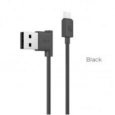 HOCO UPM10 ΓΩΝΙΑΚΟ ΚΑΛΩΔΙΟ USB ΣΕ MICRO USB, ΦΟΡΤΙΣΗΣ & DATA 1.2m, ΜΑΥΡΟ
