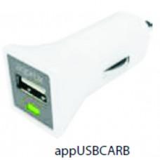 APPROX ΦΟΡΤΙΣΤΗΣ ΑΥΤΟΚΙΝΗΤΟΥ USB 5VDC/1A ΛΕΥΚΟ