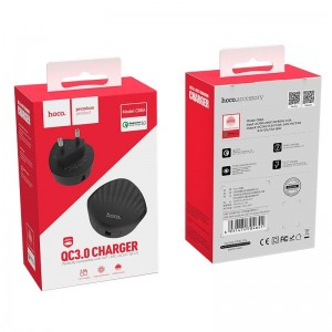 HOCO C68A SHELL QC3.0 CHARGER, ΜΑΥΡΟ