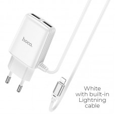 HOCO C82A REAL POWER DUAL PORT CABLE CHARGER(FOR LIGHTNING)(EU) ΑΣΠΡΟ