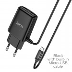 HOCO C82A REAL POWER DUAL PORT CABLE CHARGER(FOR MICRO)(EU) ΜΑΥΡΟ