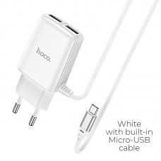 HOCO C82A REAL POWER DUAL PORT CABLE CHARGER(FOR MICRO)(EU) ΑΣΠΡΟ