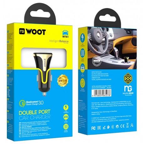 NG WOOT WT61 CAR CHARGER QC3.0 18W, 2 ΘΥΡΕΣ
