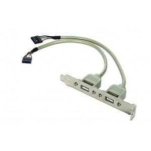 CABLEXPERT DUAL USB 2.0 RECEPTACLE ON BRACKET
