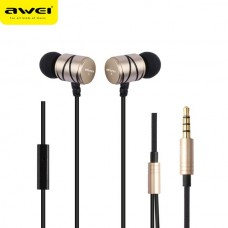 AWEI STEELSERIES Q5I METAL STEREO EARPHONE SUPER BASS ΧΡΥΣΟ