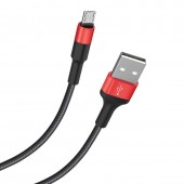 HOCO X26 ΚΑΛΩΔΙΟ MICRO USB ΦΟΡΤΙΣΗΣ & DATA 1m, BLACK - RED