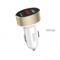 HOCO Z26 HIGH PRAISE DUAL PORT USB CAR CHARGER 2.1A ΜΕ ΟΘΟΝΗ, ΛΕΥΚΟ