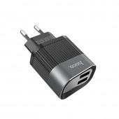 HOCO C40A SPEEDMASTER DUAL USB CHARGER ΜΕ ΟΘΟΝΗ ΜΑΥΡΟ