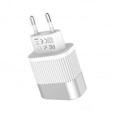 HOCO C40A SPEEDMASTER DUAL USB CHARGER ΜΕ ΟΘΟΝΗ ΛΕΥΚΟ