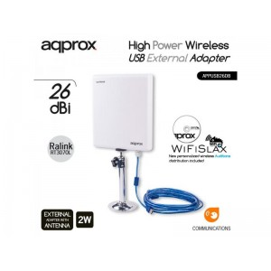 APPROX WIRELESS EXTERNAL USB ADAPTER, HIGH POWER, 150Mbps 26dBi 2W