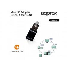 ΜΕΤΑΤΡΟΠΕΑΣ APPROX MICRO SD to USB & MICRO USB